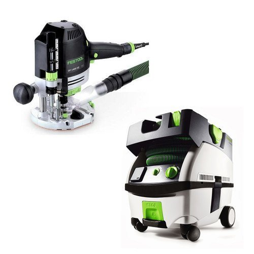 Festool PM574342 Plunge Router with CT MINI 2.6 Gallon Mobile Dust Extractor by Festool