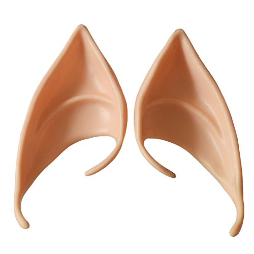 (Dealglad 1 Pair Soft Latex Fairy Pixie Elf Fake Ears LARP Halloween Costume Cosplay Party Pointed Prosthetic Tips Ear (Color)