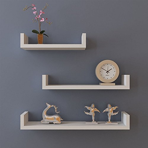 Miageek [US STOCK] 3 U Shape Floating Wall Mounted Shelves Storage Displaying Shelf Set, Espresso Finish (White) (Mounted Wall Fire Set Tool)