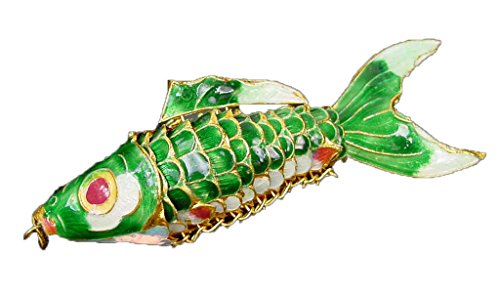 Dark Green Hand Painted Enameled Cloisonne Articulated Fish 4.25