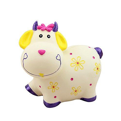 Baidecor White Purple Smile Cow Money Box Piggy Bank