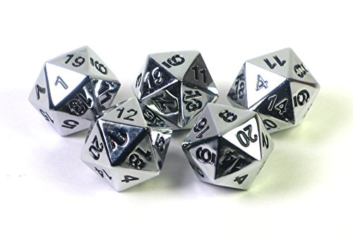 Chrome Dice (Solid Metal Chrome Silver D20 5 piece Polyhedral Dice Set by Hedral)