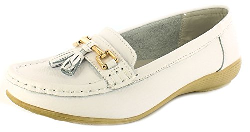 Womens/Ladies Leather Slip On Casual Shoes with Metal Trims. - White - UK Sizes 3-8