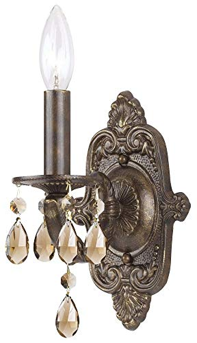 Crystorama 5021-VB-GT-MWP Crystal Accents One Light Wall Sconce from Paris Market collection in Bronze/Darkfinish, 5.00 inches - Mwp Venetian Bronze Finish