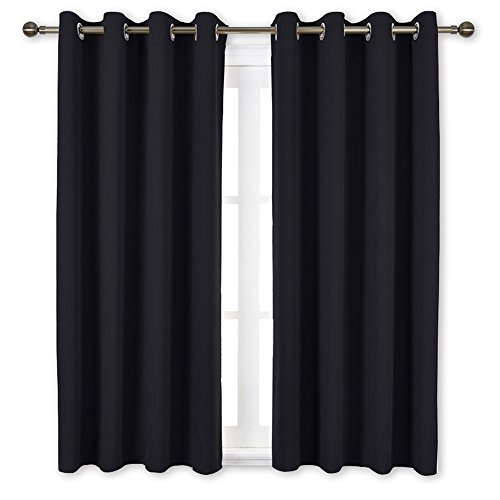 NICETOWN Black Out Curtains for Living Room - Easy Care Solid Thermal Insulated Grommet Blackout Panels/Drapes for Bedroom Window (2 Panels, 52 inch Wide by 63 inch Long) (Circle Dot Valance)