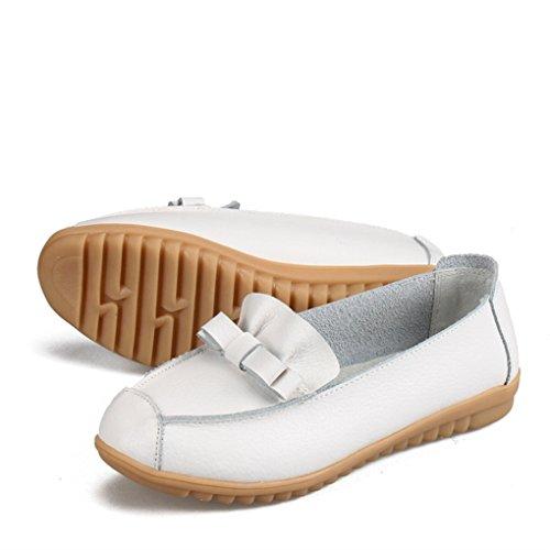 Confortable Confort En Loafers Blanc Pu Mignon Casual Sur Cuir Le Yy Féminin rui Manteau UqEBvz