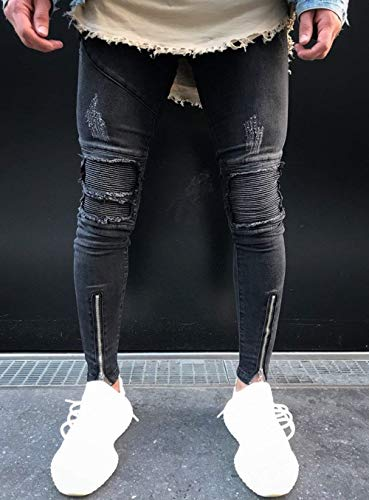 Apenado Stretch Patch Skinny Hombres Vaqueros Pants Cierre Jeans Slim Destroyed Denim Los Ripped De Knee Negro Fit q7708vx
