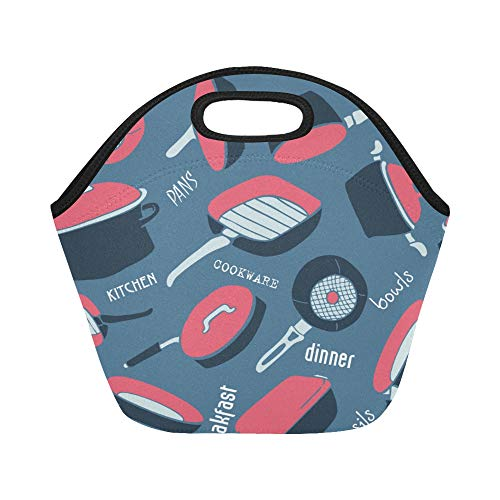 Insulated Neoprene Lunch Bag Wok Kitchen Creative Hand-painted Large Size Reusable Thermal Thick Lunch Tote Bags For Lunch Boxes For Outdoors,work, Office, School