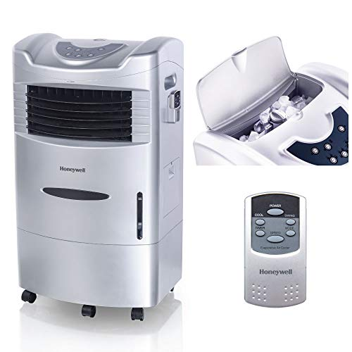 Honeywell 470 CFM Fan & Humidifier, Carbon Dust Filter & Remote Control, CL201AE Indoor Portable Evaporative Cooler, Silver