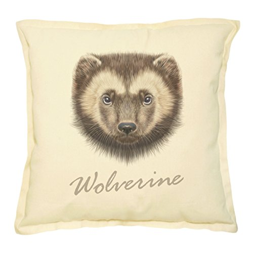 Portrait of Wolverine Printed Khaki Decorative Pillow Case VPLC_02 Size 18x18