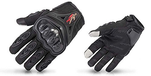 BicycleStore Full Finger Motorcycle Gloves for Outdoors Anti-Slip Breathable Motorbike Riding Racing Gloves of Nylon Mesh and Hard Knuckle the Touch Screen Gloves With Velcro Black L & XL (X-Large)