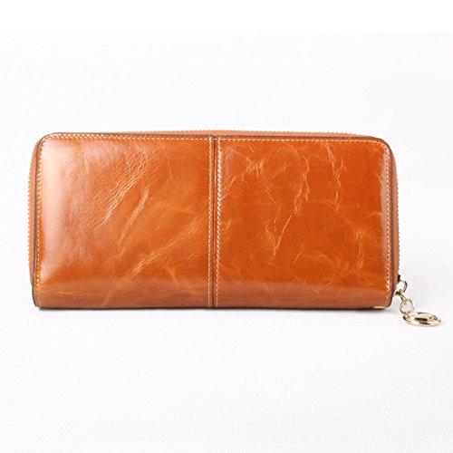 Cerniera Porta Con Regalo Cammello portafogli Taglia Capacità Tasca confezione Da Pelle Lycailcy Donna Arancione Grande Vera In Unica vHqf8O0