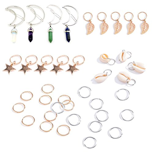 LIGONG 39 Pieces Hair Rings Hair Hoop Clips for Dreadlock Braiding Hair Decoration, Shell Shape, Stars Shape, Leaves Shape, Moon Hair Rings with Gemstone Pendant, Total 9 (Shell Gemstone)