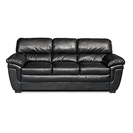Superieur Bowery Hill Casual Split Back Leather Sofa In Black