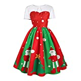 Fheaven (TM) Women Vintage Elegant Ball Gown Christmas Print Floral Lace Tea Cocktail Dress (US:8, Red)