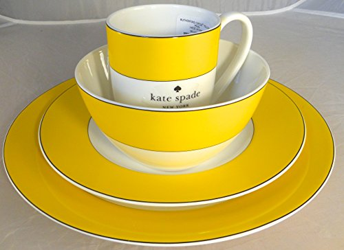 (4-Piece Kate Spade Lenox Rutherford Circle Yellow Pattern Dinner & Salad Plate, Bowl & Tea / Coffee Cup Set)