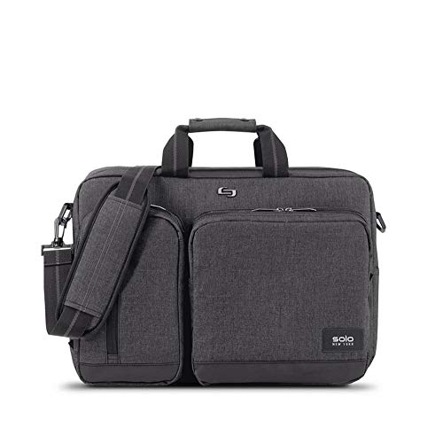 Solo Duane 15.6 Inch Laptop Hybrid Briefcase, Converts to Backpack, Grey (Backpack Convertible Computer)