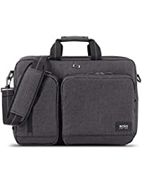 Solo Duane Convertible Briefcase. Fits Up to A 15.6-Inch Laptop. Converts to Backpack, Briefcase or Messenger Bag. Laptop Bag for Men or Women - Grey