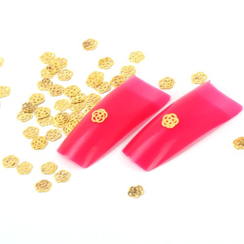 Yesurprise 100pcs Golden Nail Art Tips Glitters Stickers Slices Plate DIY Decorations Flower