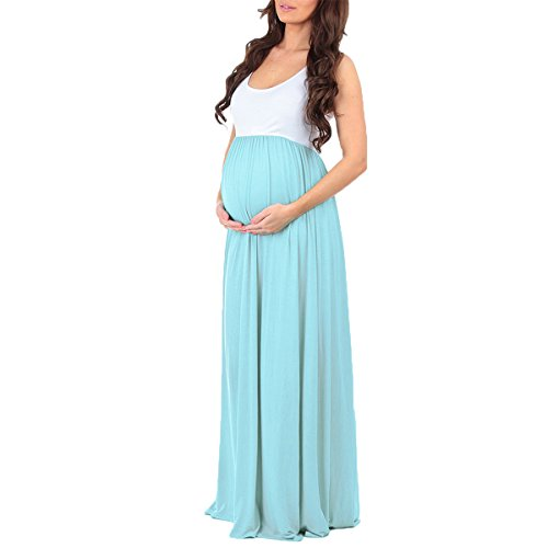 Women Maternity Ruched Color Block Tank Summer Dress Long Pregnant Photography Baby Shower Maxi Gown at Amazon Womens Clothing store: