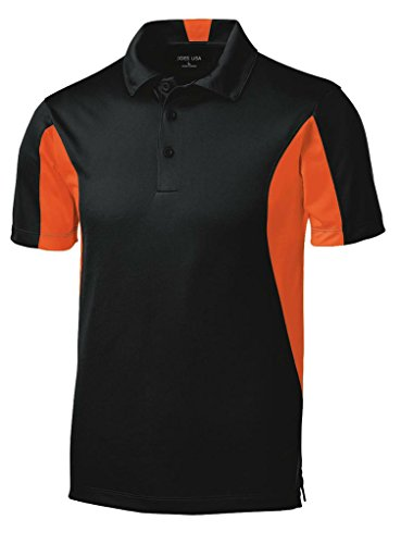 Joe's USA(tm - Moisture Wicking Side Blocked Micropique Polo-Black/Orange-XS