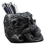 Ebros Gift Tribal Tattoo Floral Skull Pen Holder