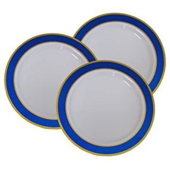 7  Disposable Plastic Appetizer and Dessert Plates With Blue and Gold Trim - 40 Pack  sc 1 st  Amazon.com & Amazon.com: 7