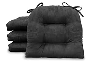 Safdie Suede Looke Chair Pads, Black, Set of 4