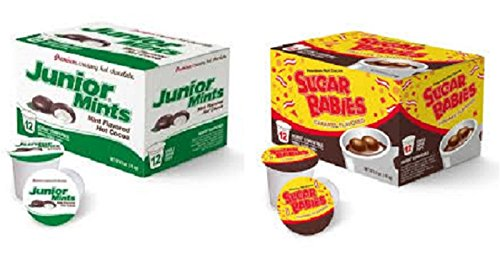 Baby Chocolate Mint - Junior Mints & Sugar Babies Hot Cocoa K Cups; Mint Chocolate & Caramel Candy Cocoa Bundle Pack of 2 Boxes 12 ct each/24 total count