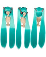 Cf-fashion Miku's Day Vocaloid Hatsune Miku Green Cosplay Wig Anime Costume Wigs with Handmade Prop Headset