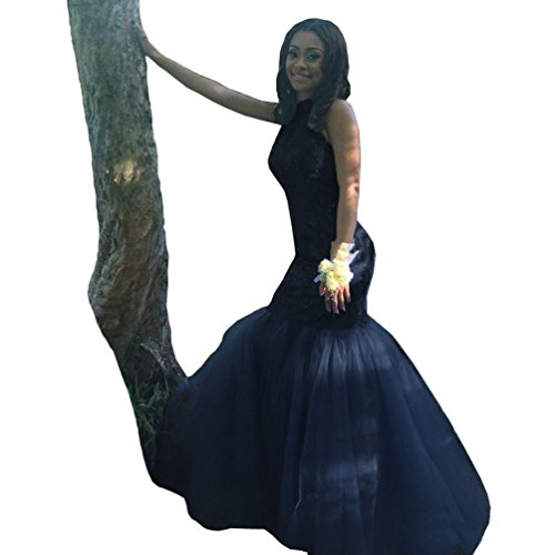 Dress Neck Party Evening Beaded Prom DYS Lace Navy Women's Gowns Mermaid High Blue Tulle RqIPqwAxC