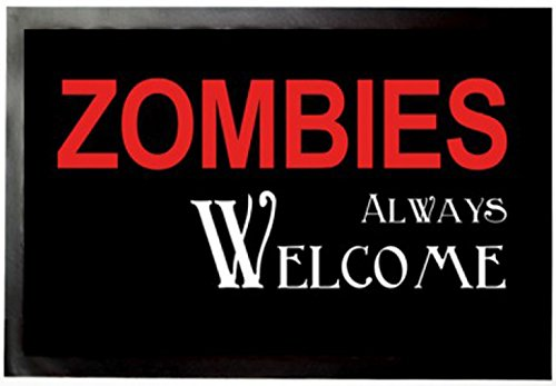 1art1 Zombies Door Mat Floor Mat - Zombies Always Welcome (24 x 16 inches)