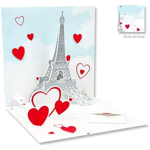 amazoncom 3d greeting card eiffel tower valentines office products - 3d Greeting Cards