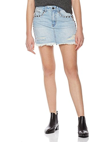 Beading Rivet - Lily Parker Women's Distressed Rivet Beading Denim Short Mini Skirt 28 Light Blue