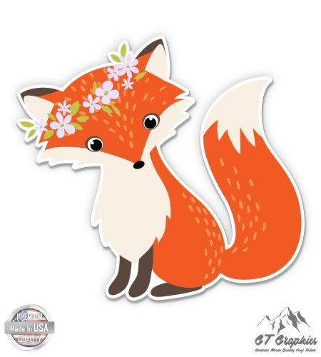 GT Graphics Cute Fox With Flower Wreath - 3