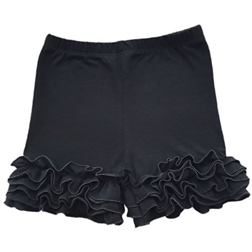 Baby Kid Girls Summer Icing Ruffle Shorts Pants Boutique Cotton Comfortable Bottoms Casual Party Activewear Playwear Black 7-8 Years