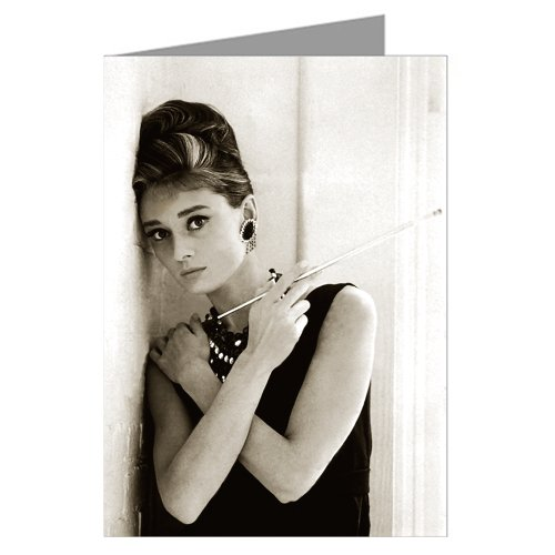 Single Greeting Card Of Greeting Card Of Audrey Hepburn As Holly Golightly In Breakfast At Tiffany's Close Up And Wearing An LBD Audrey Hepburn Close Up