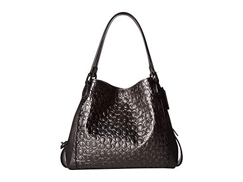 - COACH Women's Metallic Signature Leather with Border Rivets Edie 31 Shoulder Bag V5/Metallic Graphite One Size