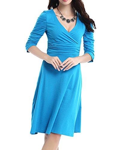 A Abito Pieghe Cerimonia Lunghi Collo Elegante Vestiti Donna Azzurro Matrimonio Vestito Swing V Da Sera R4U8xqw