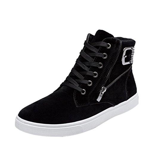morecome Men High Help Fashion Warm Boots Footwear Canvas Casual Shoes Black jgFQ6Q7fe