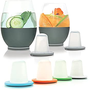 Bonus Pack: Dimple Self-chilling Stemless Wine Glasses   Magnetic Freezer Insert Keeps Glass & Drinks Colder Longer   Silicone Insulated Hand-grip, Hand-blown Glass & Stainless Steel   Great Gift!