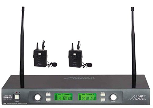 Microphone Wireless Professional Lavaliere Systems (Audio2000'S AWM6547DUM Professional Dual-Diversity UHF Wireless Lavaliere System with 100 Adjustable Frequencies)