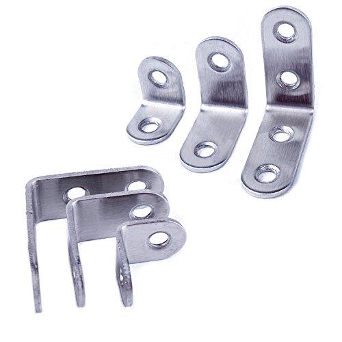 Sujetador de esquina en forma de L de 20x20 mm con tornillos de 32 piezas para Mesa de madera del estante Plata 16 paquetes de soportes de esquina de acero inoxidable