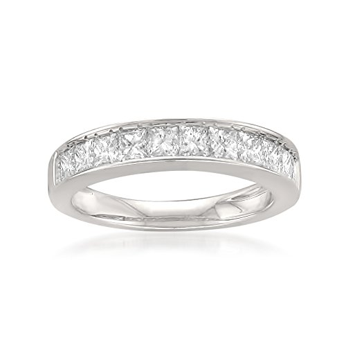 14k White Gold Princess-cut 11-Stone Diamond Bridal Wedding Band Ring (1 cttw, J-K, SI1-SI2), Size 8.5 by La4ve Diamonds