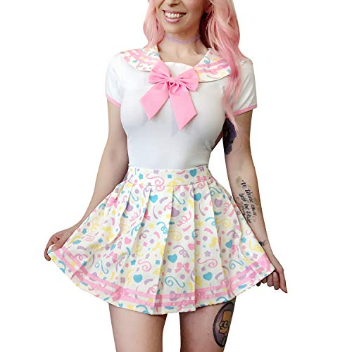 Littleforbig Adult Baby Onesie Diaper Lover (ABDL) Button Crotch Romper Onesie Pajamas - Cosplay Magical Onesie Skirt Set Color ()