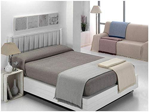 Cabatex Home - Colcha Multiusos Plaid Foulard Cubre SOFÁ O Cama Mod. ZIGA (Beige, 180_x_260_cm)