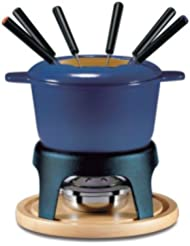 Swissmar F66706 Sierra 1.6-Quart Cast Iron Meat Fondue Set, 11-Piece, Deep Blue