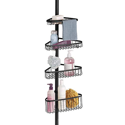 (mDesign Bathroom Shower Storage Constant Tension Corner Pole Caddy - Adjustable Height - 4 Positionable Baskets - for Organizing and Containing Hand Soap, Body Wash, Wash Cloths, Razors - Matte Black)