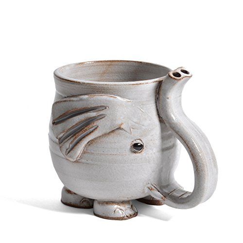 MudWorks Pottery Footed Elephant Mug with Raised Trunk Handle, White