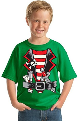 Awkwardstyles Youth Pirate Costume T-Shirt Happy Halloween Kids Shirt S Green ()